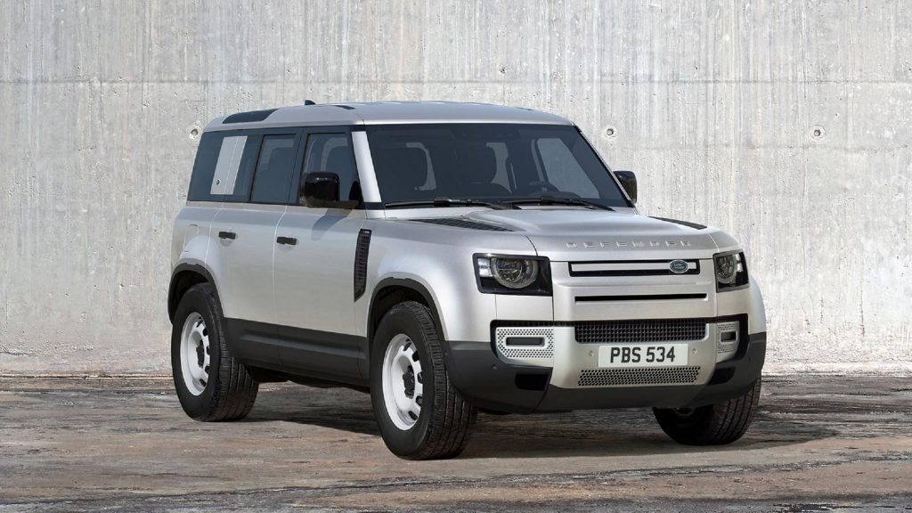 A silver 2021 Land Rover Defender 110