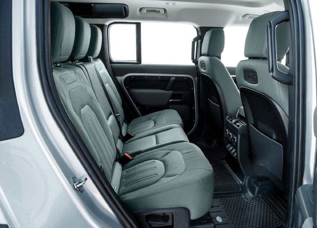 The 2021 Land Rover Defender 110's black-leather 1st- and 2nd-row seats
