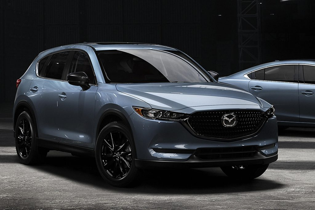 A 2021 Mazda CX-5 with PolyGray Metal paint.