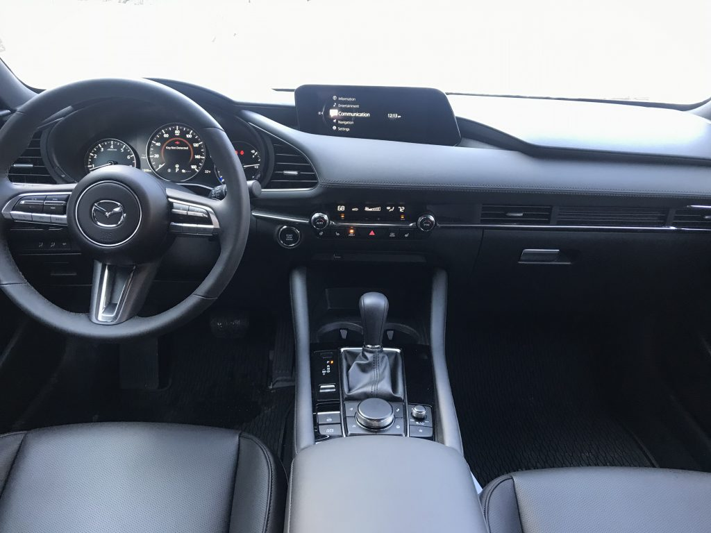 Front seats of the 2021 Mazda3.
