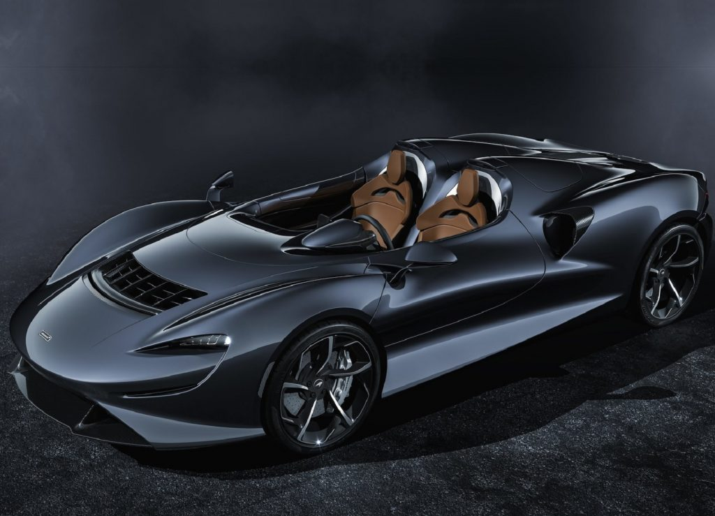 A blue-gray 2021 McLaren Elva