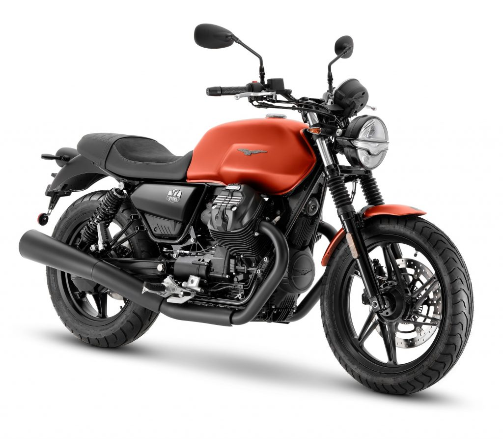 An orange 2021 Moto Guzzi V7 Stone