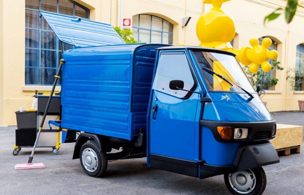 A blue 2021 Piaggio Ape 50 Van