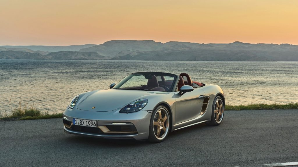 The silver 2021 Porsche 718 Boxster 25 Years by the ocean