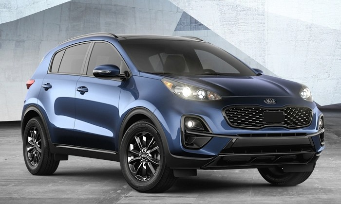 a blue 2021 Kia Sportage Nightfall Edition mdoel