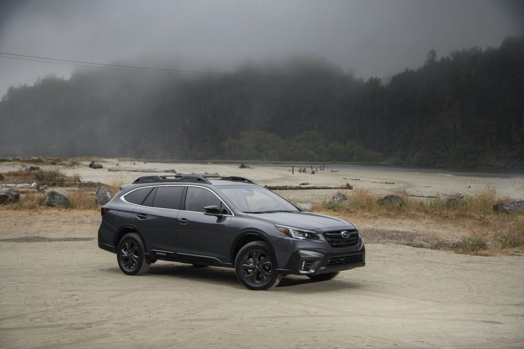 2021 Subaru Outback parked in a foggy lot
