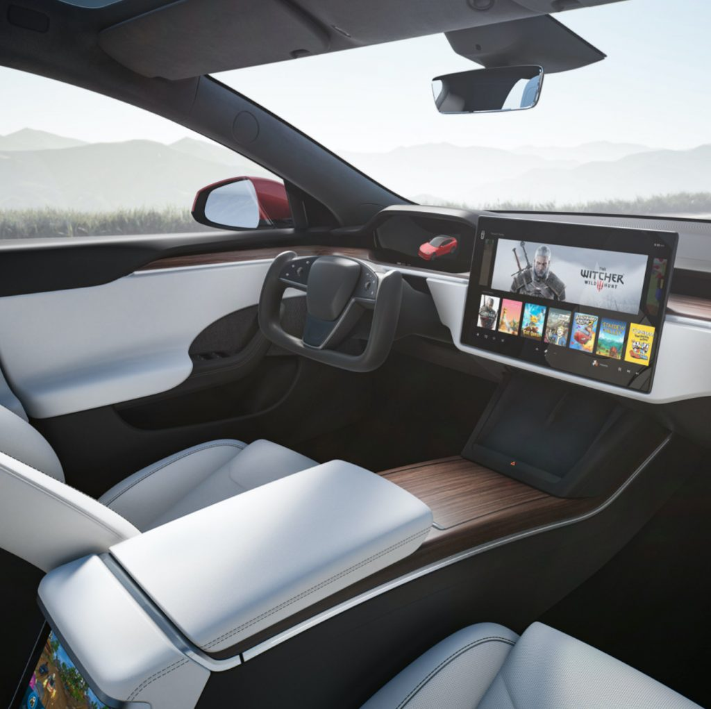 An image of the interior of a 2021 Tesla Model S.