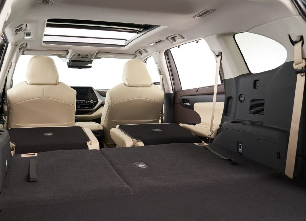 The interior of the 2021 Toyota Highlander from the rear with its seats folded