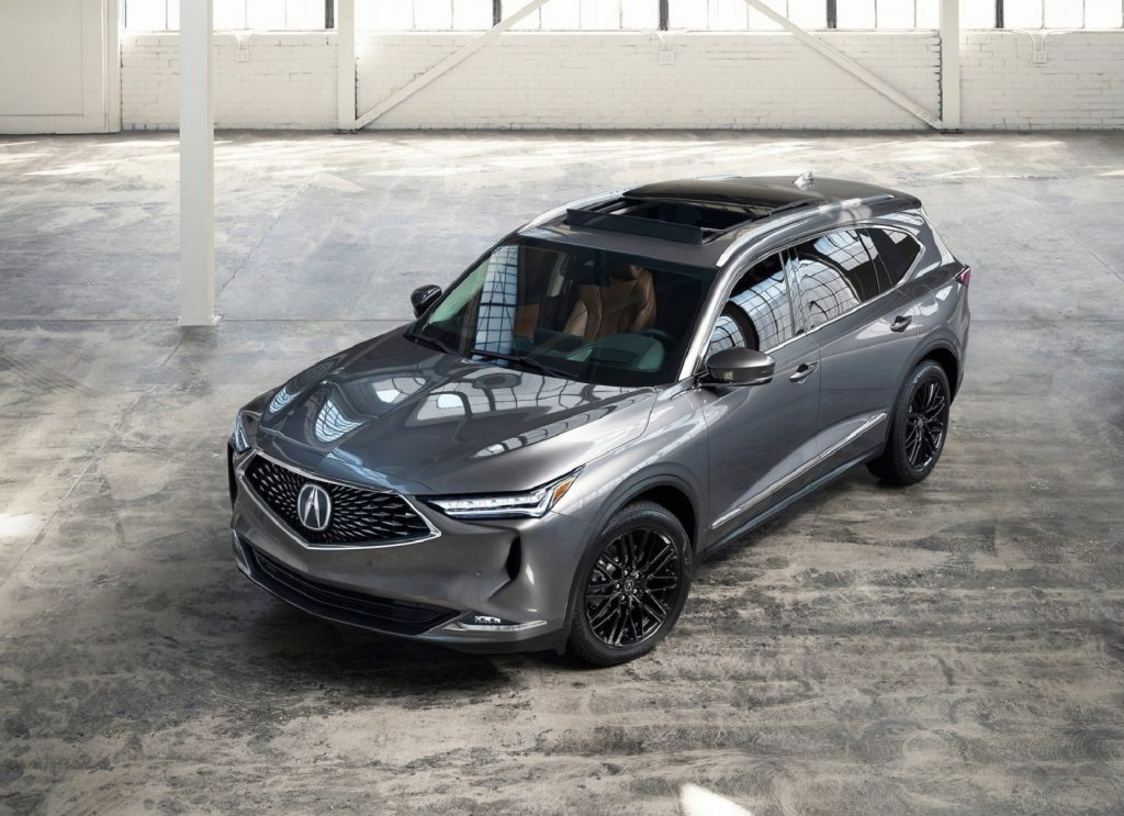 The front 3/4 overhead view of a gray 2022 Acura MDX Advance