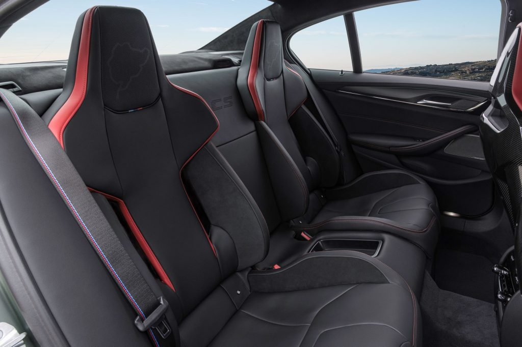 The rear seats in the 2022 BMW M5 CS