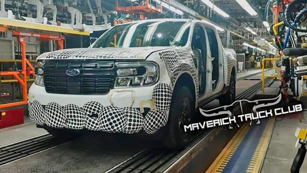 The 2022 Ford Maverick spied on production line