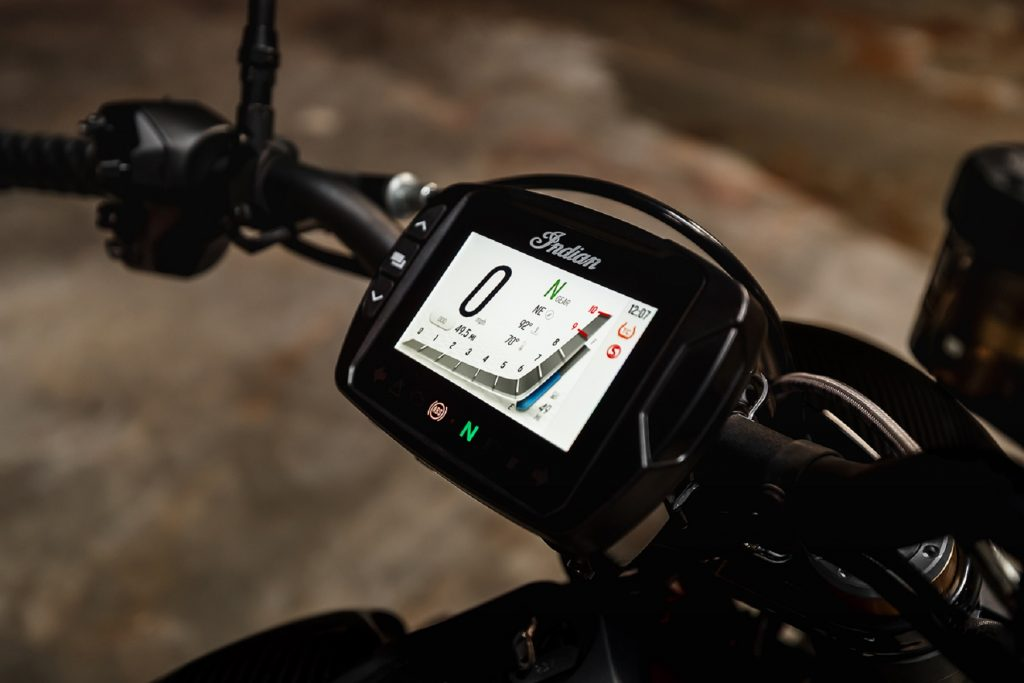 The 2022 Indian FTR R Carbon's LCD dash
