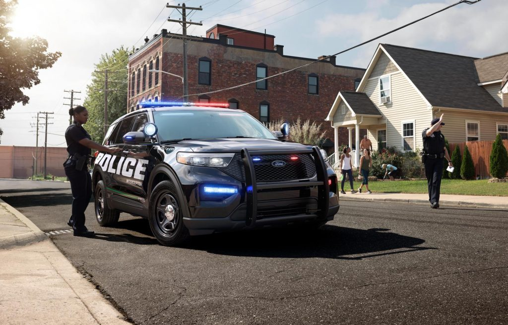 An image of a 2020 Ford Explorer Interceptor on the road.