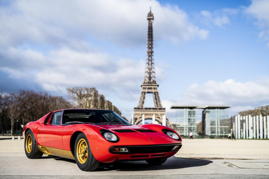 An image of a Lamborghini Miura SV out on the road.