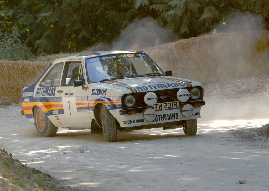 A liveried Mk2 Ford Escort RS1800 at the Goodwood Forest Rally Stage