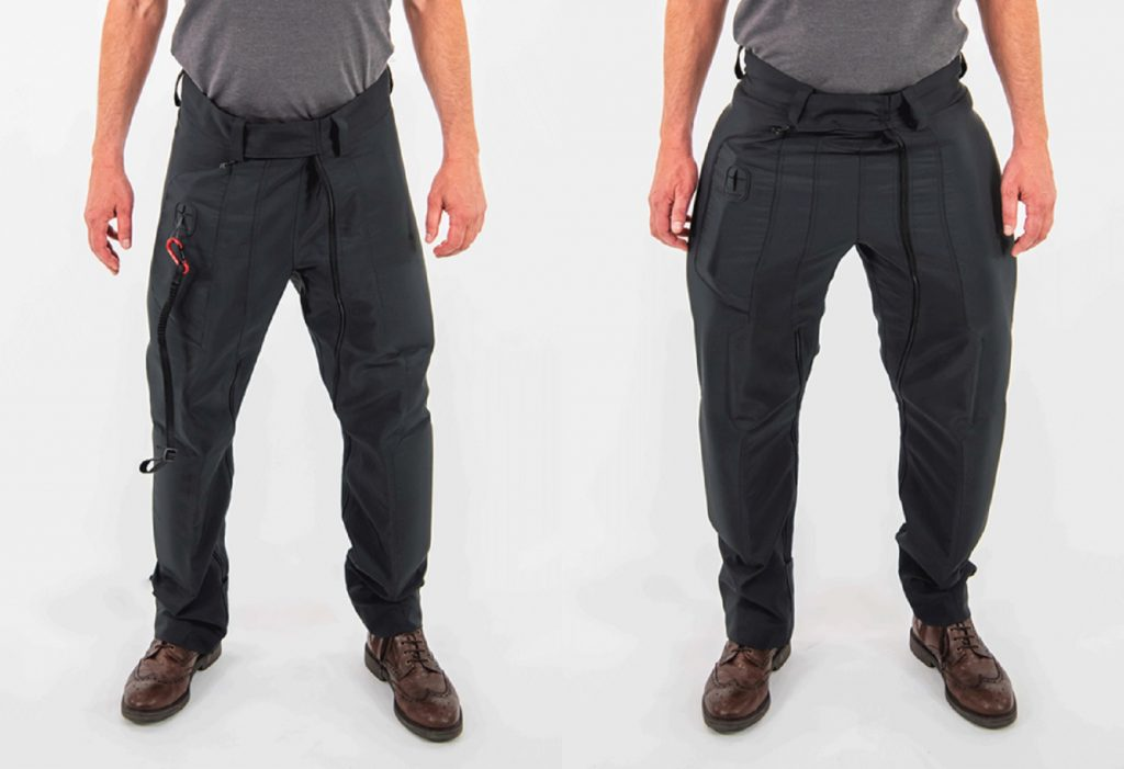 Uninflated (left) and inflated (right) CX Air Dynamics motorcycle airbag jeans
