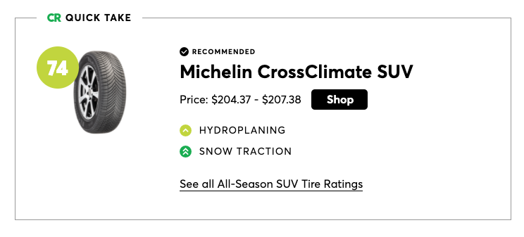 Michelin CrossClimate was the best pick for SUV all-season tires