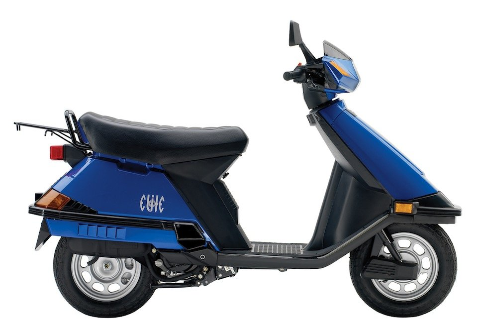 press photo of a blue Honda Elite motor scooter against a white backdrop