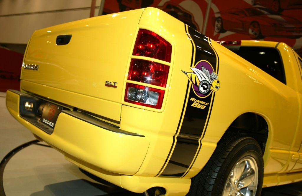 A Dodge Ram Rumble Bee truck on display
