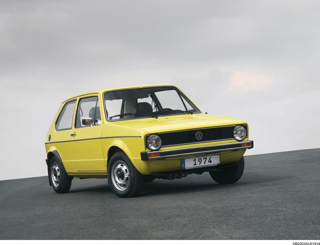 First-generation Volkswagen Golf in yellow