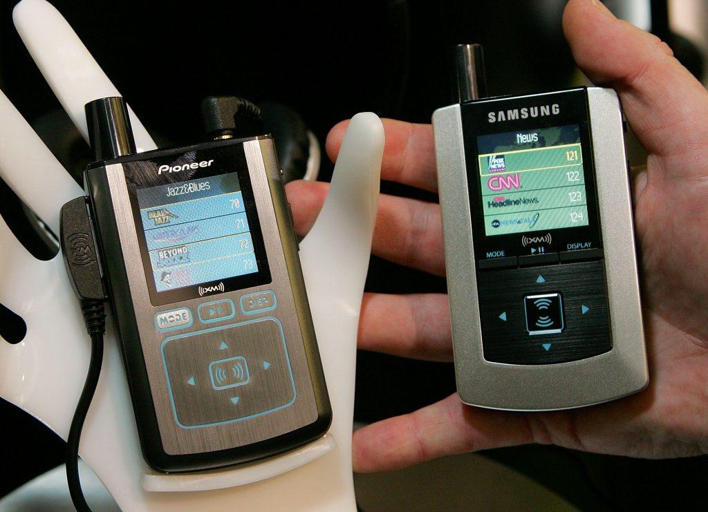 a pair of satellite radios