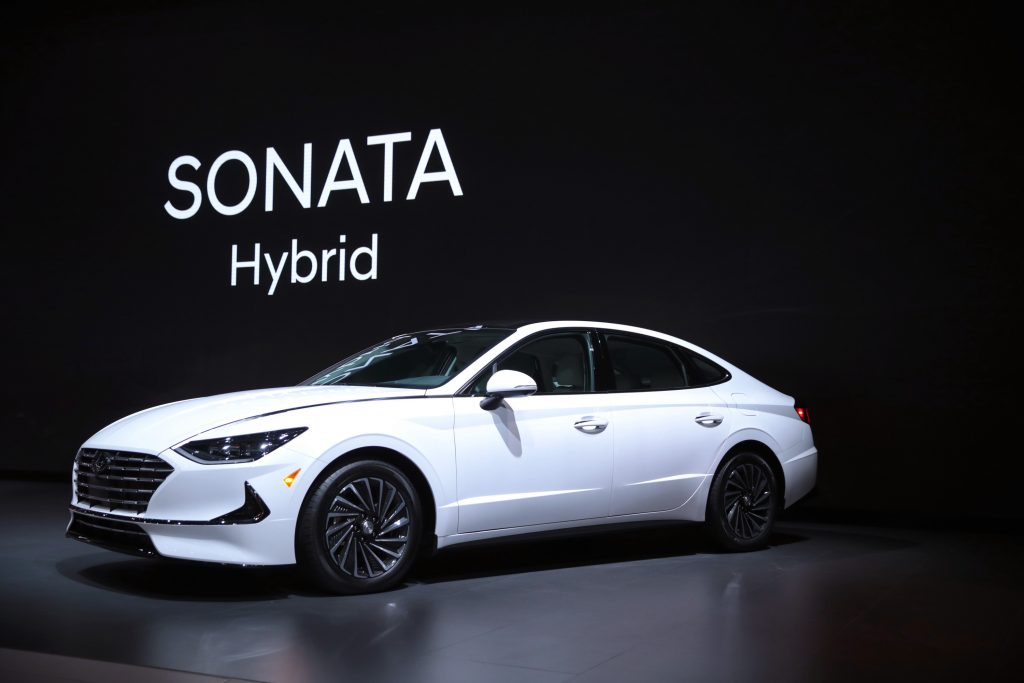 Hyundai shows off their 2020 Sonata Hybrid at the Chicago Auto Show on February 06, 2020