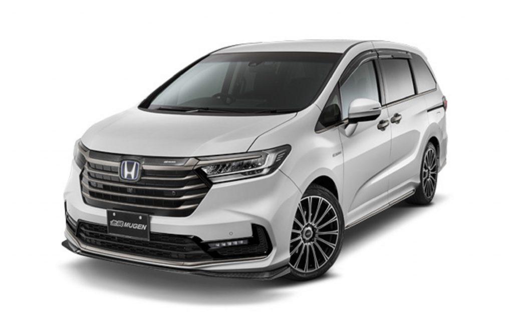 A white JDM 2021 Honda Odyssey with Mugen parts
