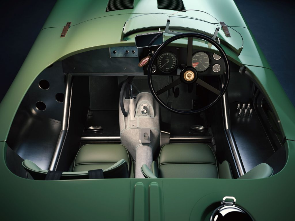 The interior of a green Jaguar C-Type Continuation