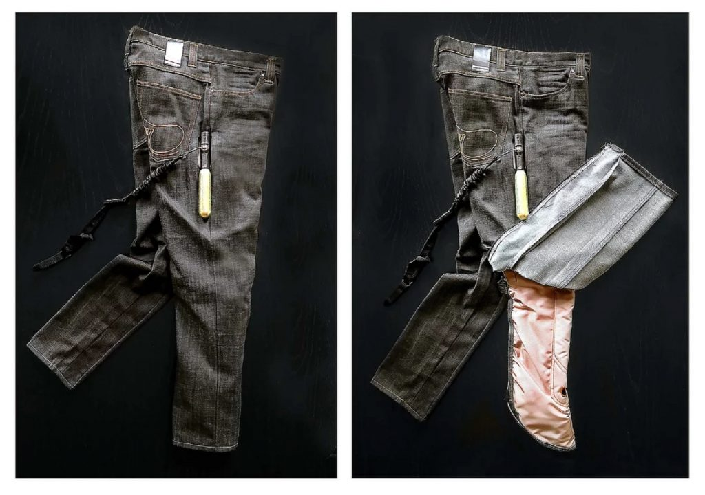 A pair of black Mo'cycle prototype motorcycle airbag jeans