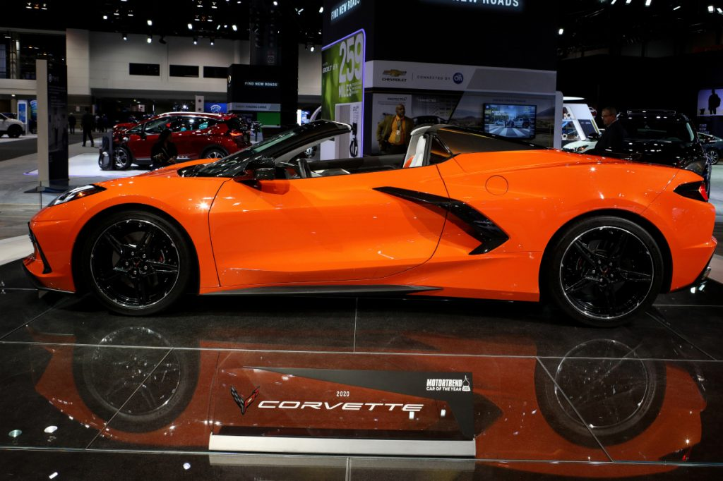 A 2020 Chevy Corvette on display at an auto show
