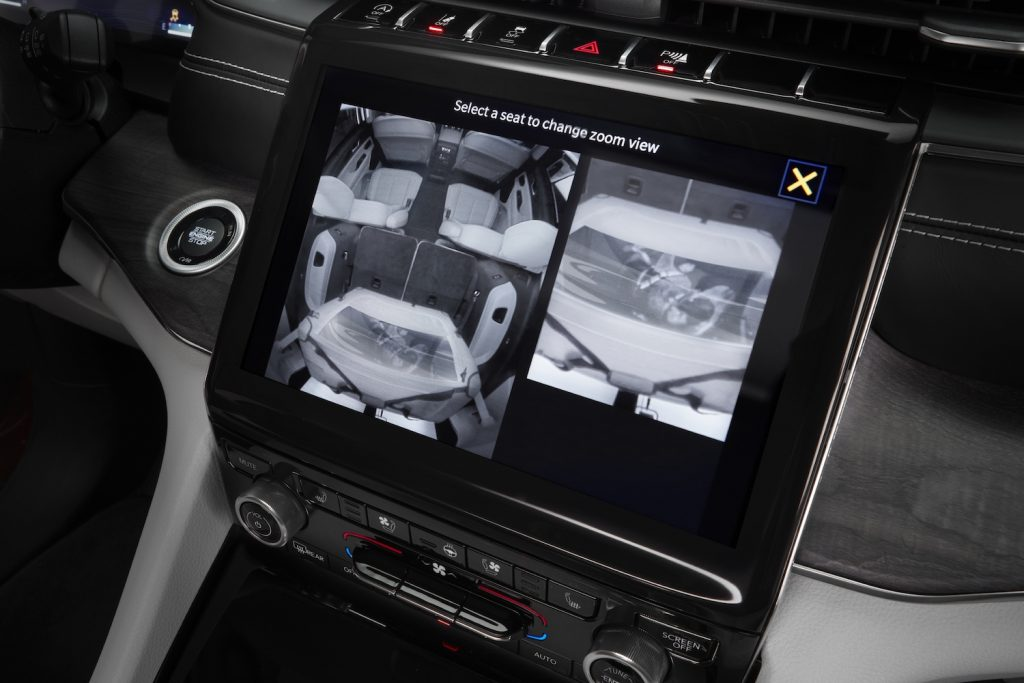 The Jeep Grand Cherokee L's available rear-seat monitoring camera