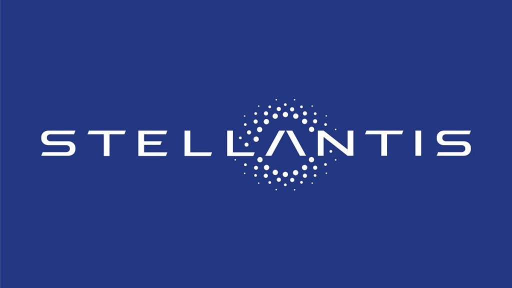 The Stellantis logo is a blue background with the name Stellantis spelled across it. The letter A has a starfield about it.