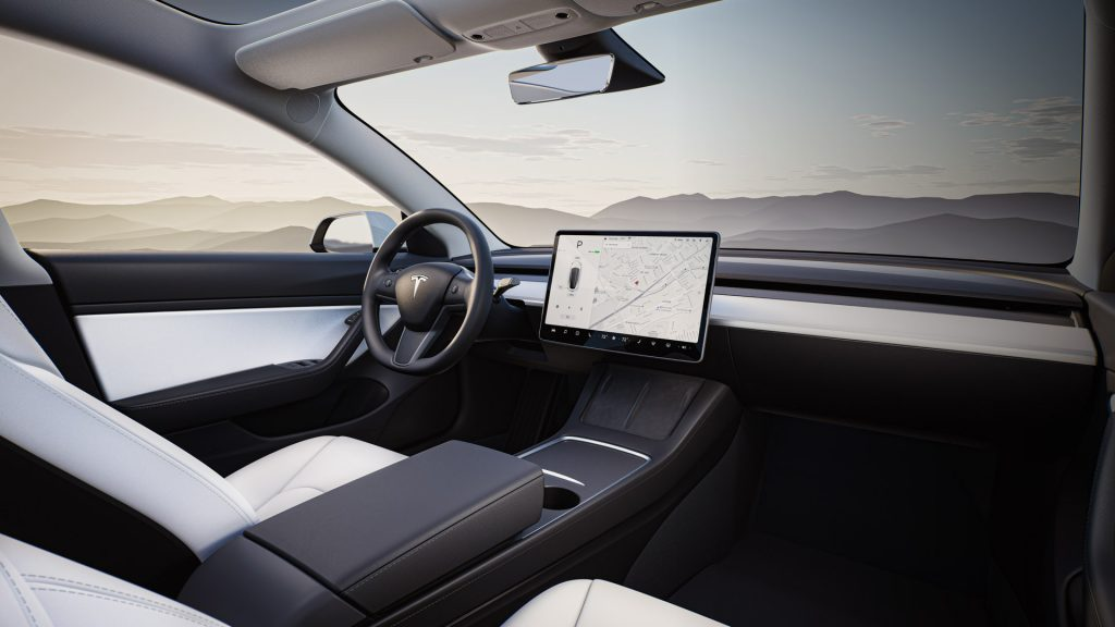 Cockpit area of the 2021 Model 3.