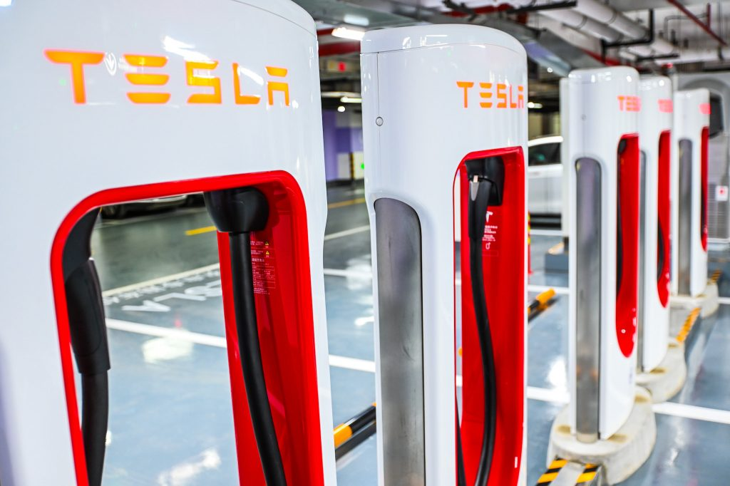 A view of the world's largest Tesla supercharger station with 72 stalls at the Jing'an International Center