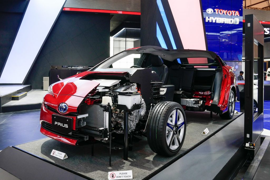 Toyota Prius car is displayed during GAIKINDO Indonesia International Auto Show