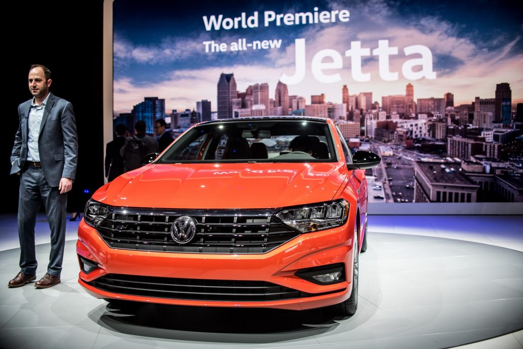 "Volkswagen Jetta is on display during North American International Auto Show given the ""not recommended"" by Consumer Reports"