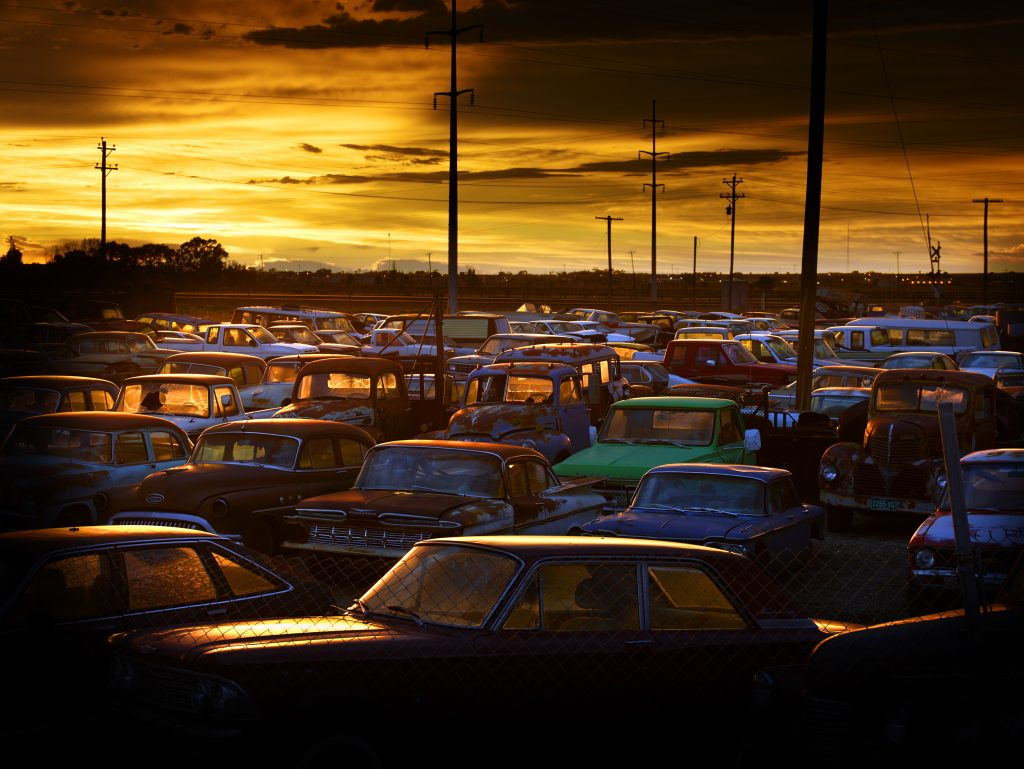 A car lot filled with abandoned cars