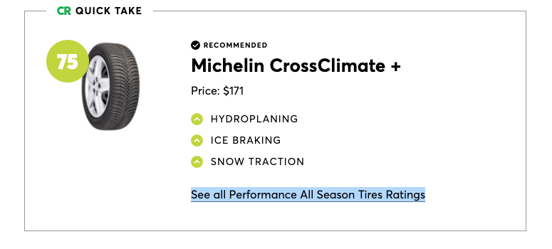 Michelin CrossClimate + was the best pick for performance all-season tires