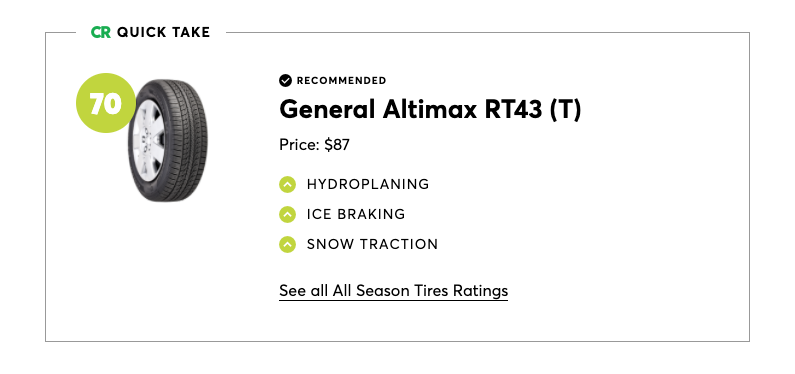 General Altimax RT43 was the best pick for all-season tires