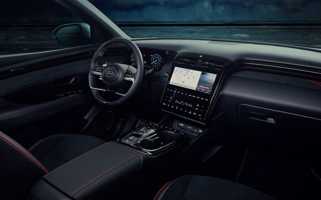An image of a 2021 Hyundai Tucson N-Line in a digital studio.