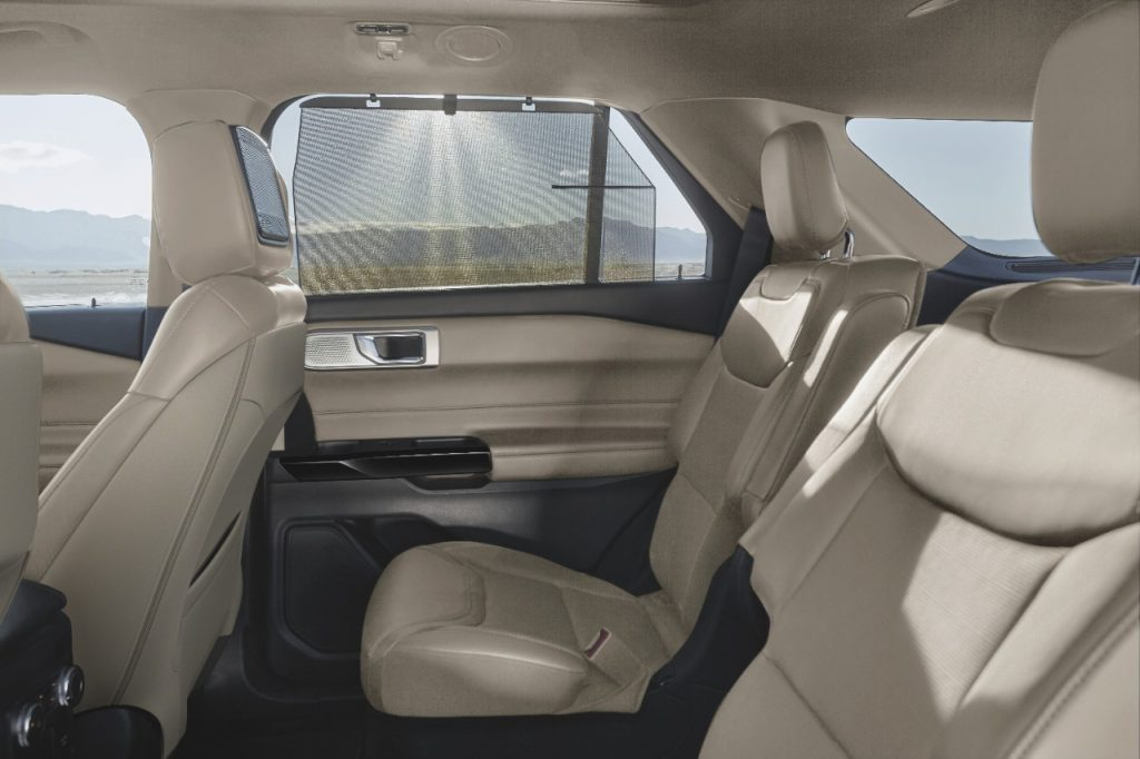 White, leather upholstered back seats of the 2021 Ford Explorer
