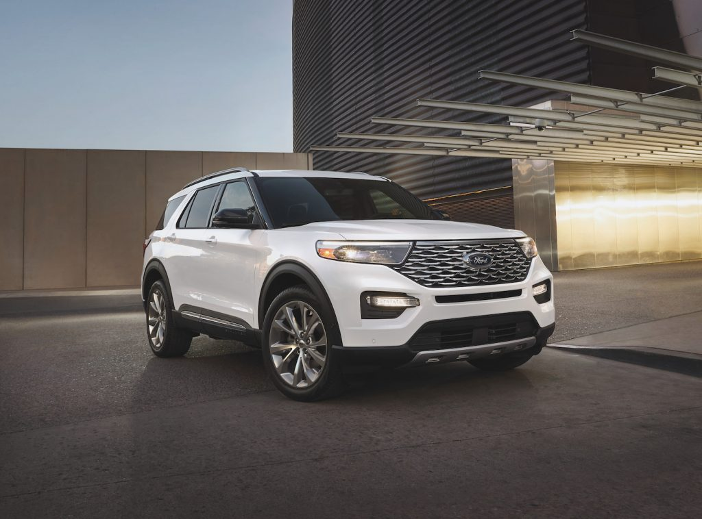 The 2021 Ford Explorer parked in a parking garage