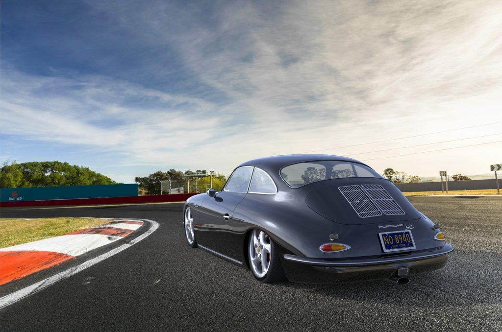 rear 3/4 view of modern gray Porsche 356
