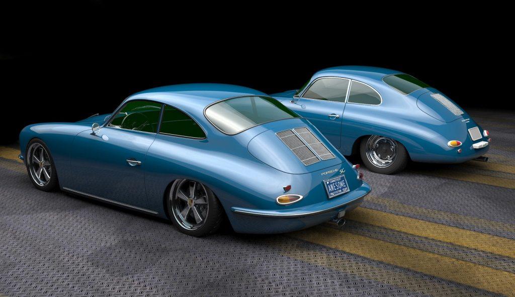 rear 3/4 view of modern Porsche 356 with otiginal behind it for comparison