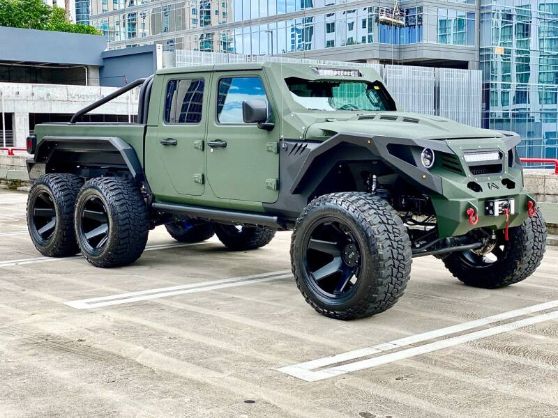 Jeep Gladiator Apocalypse G with 6x6 in parking lot