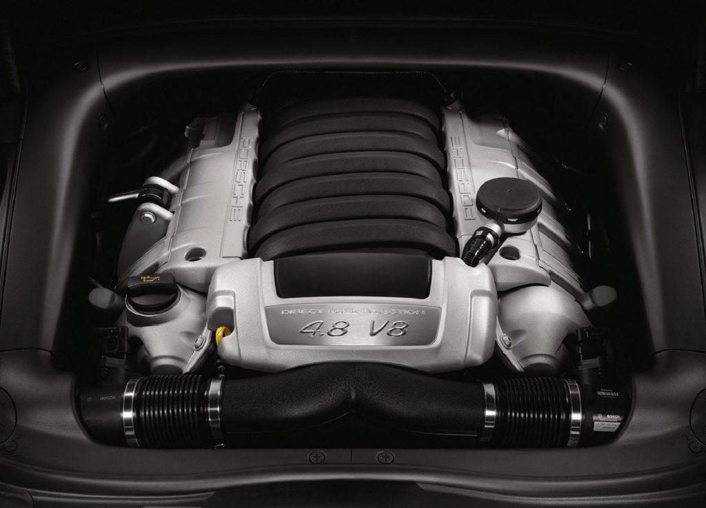The 2008 Porsche Cayenne's 4.8-liter V8 engine