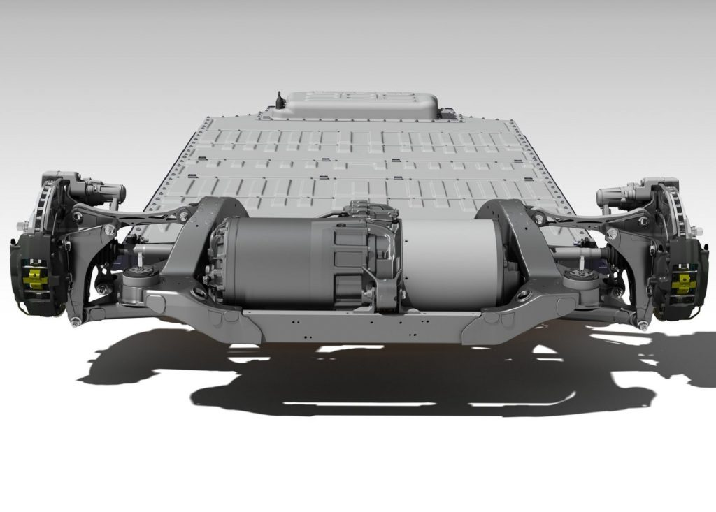 The electric motor, suspension and brake hardware, and battery pack of the 2013 Tesla Model S
