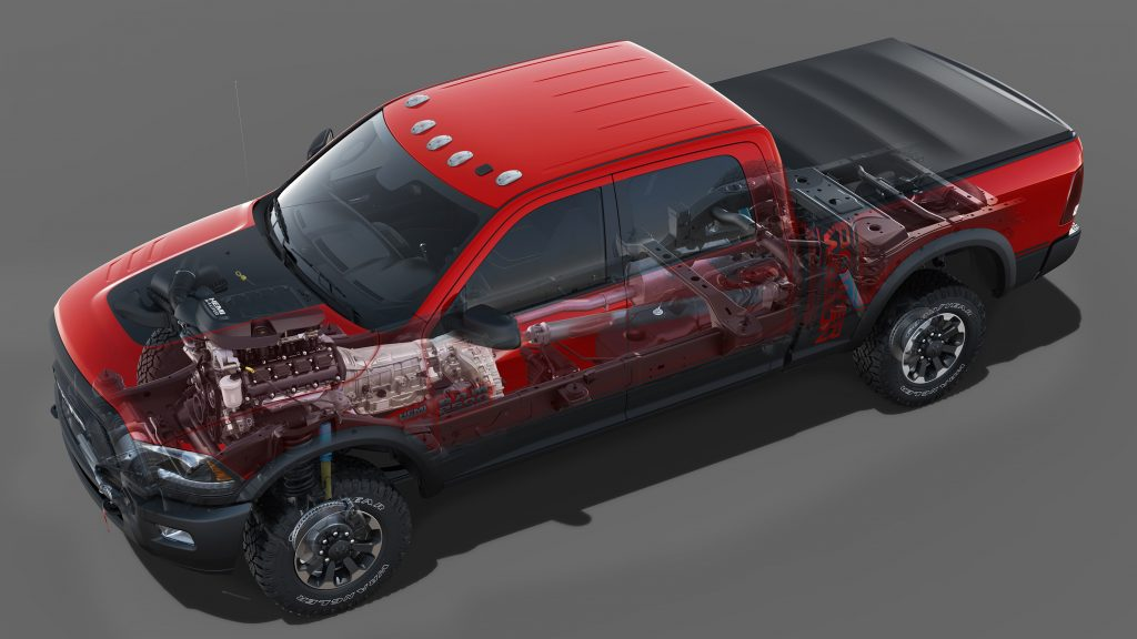 A transparent image of a red 2018 Ram 2500 so you can see its mechanical components