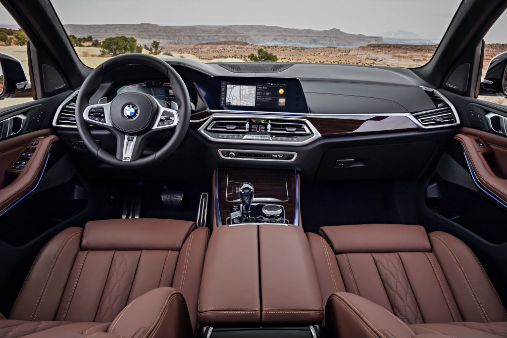 A look at the leather upholstery and center console inside the 2019 BMW X5