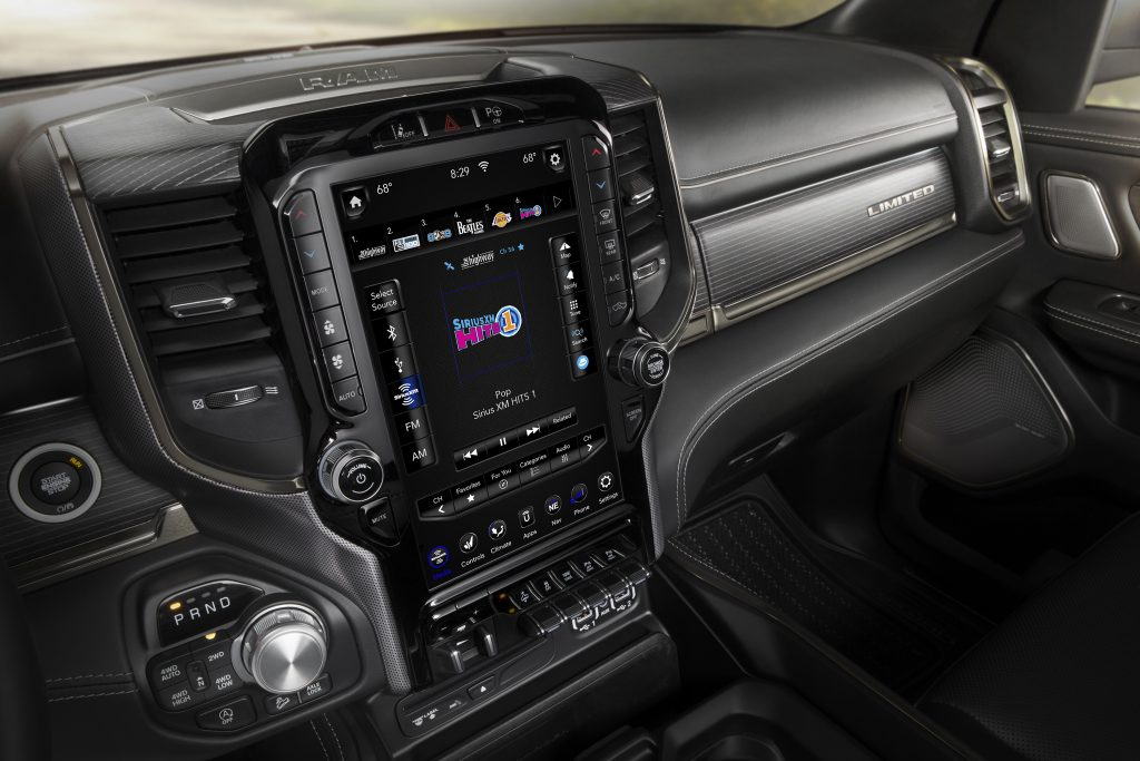 A look at the large touchscreen inside a 2019 Ram 1500